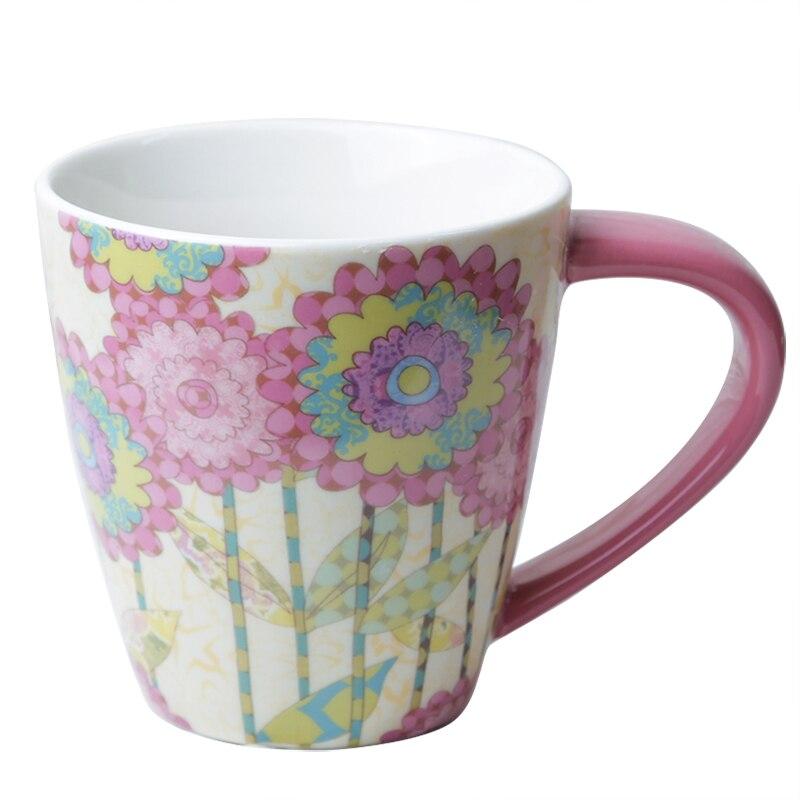 500ml Creative Ceramic Milk Mug with Handle Porcelain Coffee Mug Flower Owl Butterfly Hand Painting mug for Christmas Gift