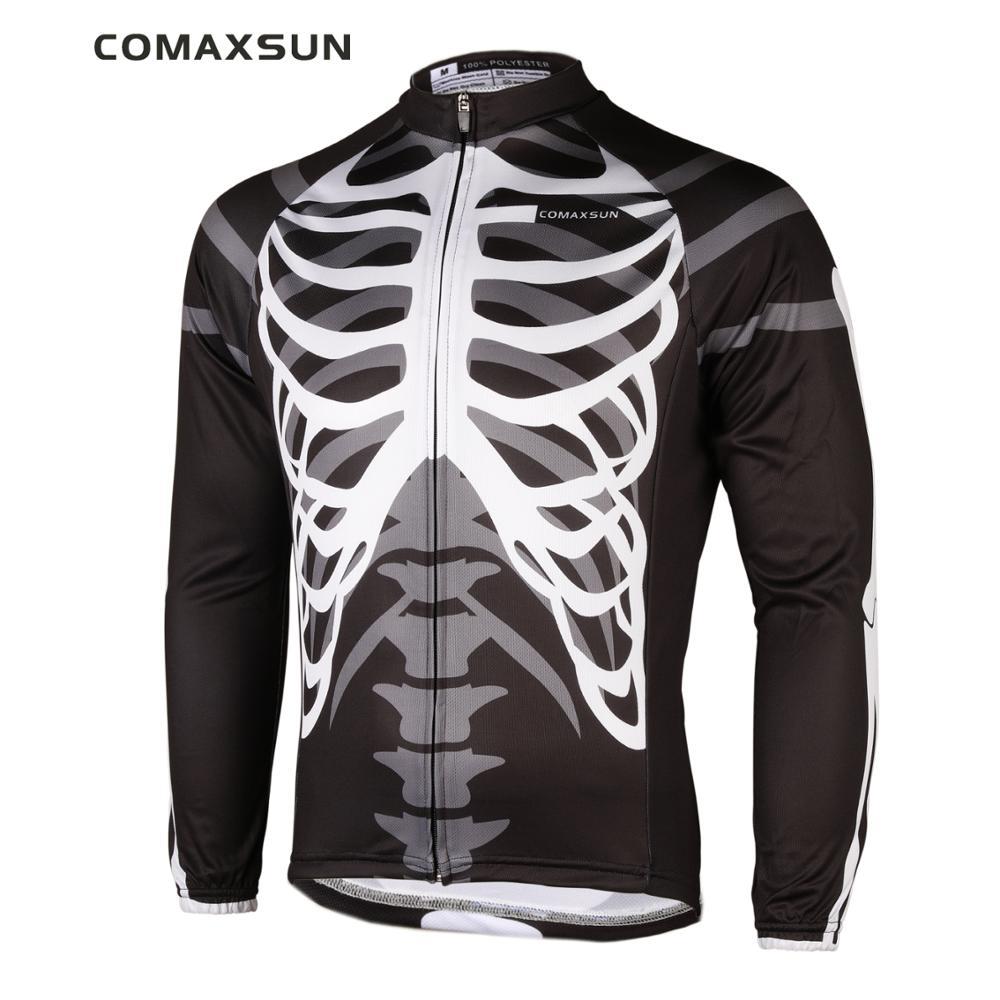 COMAXSUN رجالية قمصان طويلة الأكمام جيرسي ركوب الدراجات فقط الهيكل العظمي EOCLJ06