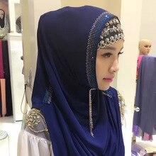 Мусульманский головной платок готов носить хиджаб мгновенный легко удобный стразы головной платок Быстрый тюрбан