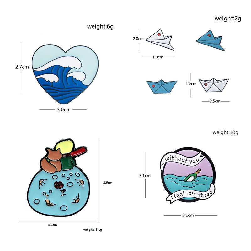 الإبداعية ورقة قارب ورقة طائرة معدنية المينا بروش الحب موجة فيض الانجراف زجاجة شارة دبوس لطيف العصرية مجوهرات اكسسوارات