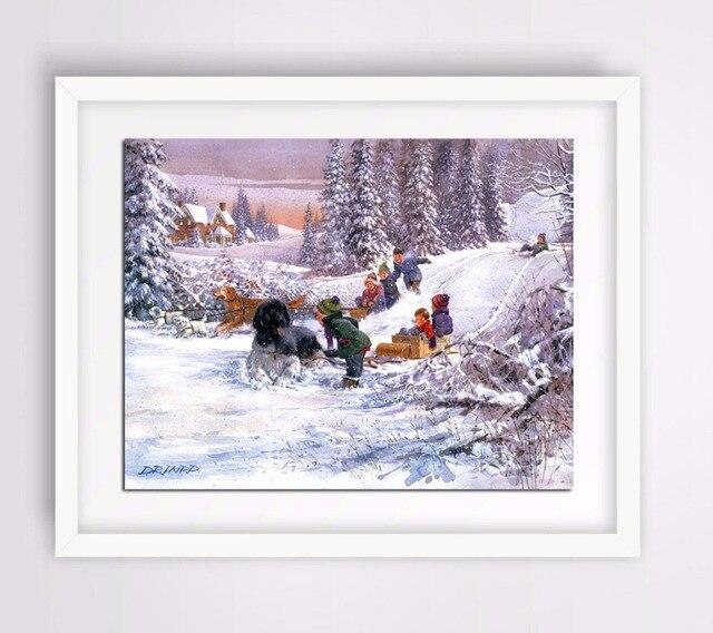 DIY 5D Harz Diamant Malerei kinder sind skifahren bild Diamant ...