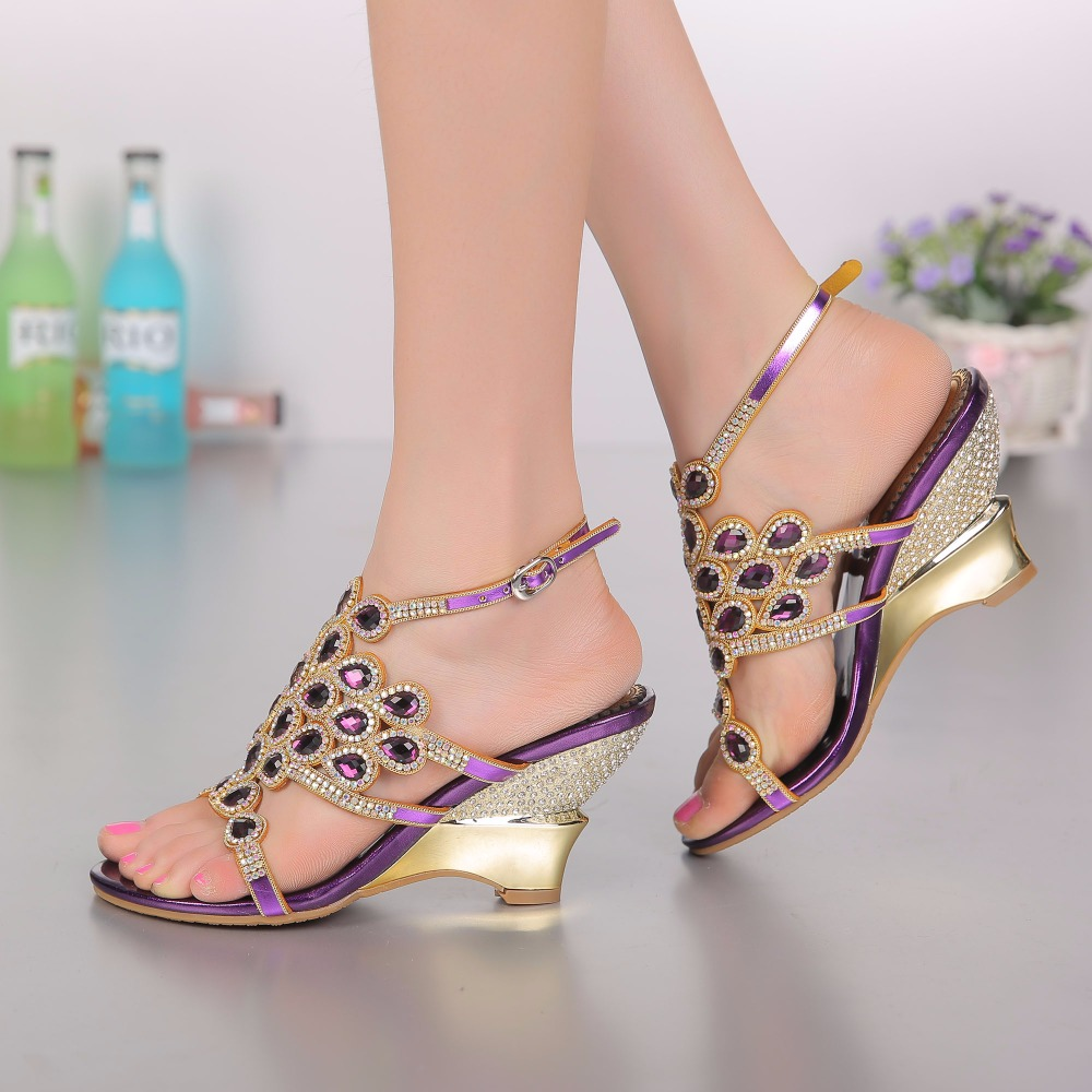 2017 Summer Fashion Sexy Girl Purple Rhinestone Peacock Wedges High Heels Crystal Women Sandals Peep Toe Woman Wedding Shoes