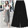 2017 New Autumn Women Pants European Elastic Waist Long Wide Leg Pants Trend All Match Pleated Casual Loose Trousers