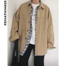 Privathinker Oversized Cargo Coat 2018 Mens Pockets Long Sleeve Retro Khaki