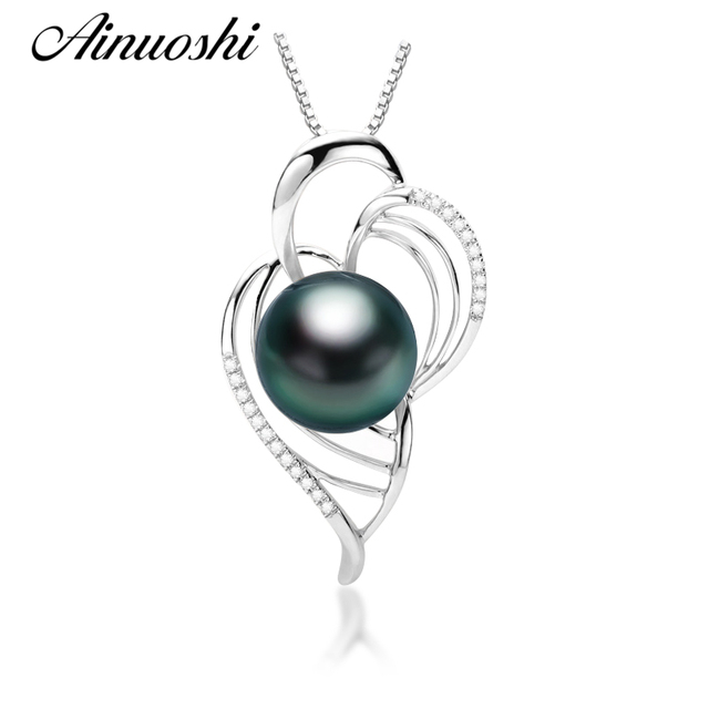 Ainuoshi 925 sterling silver necklace pendants southsea natural ainuoshi 925 sterling silver necklace pendants southsea natural tahiti black pearl 11mm round pearl christmas pendants aloadofball Image collections