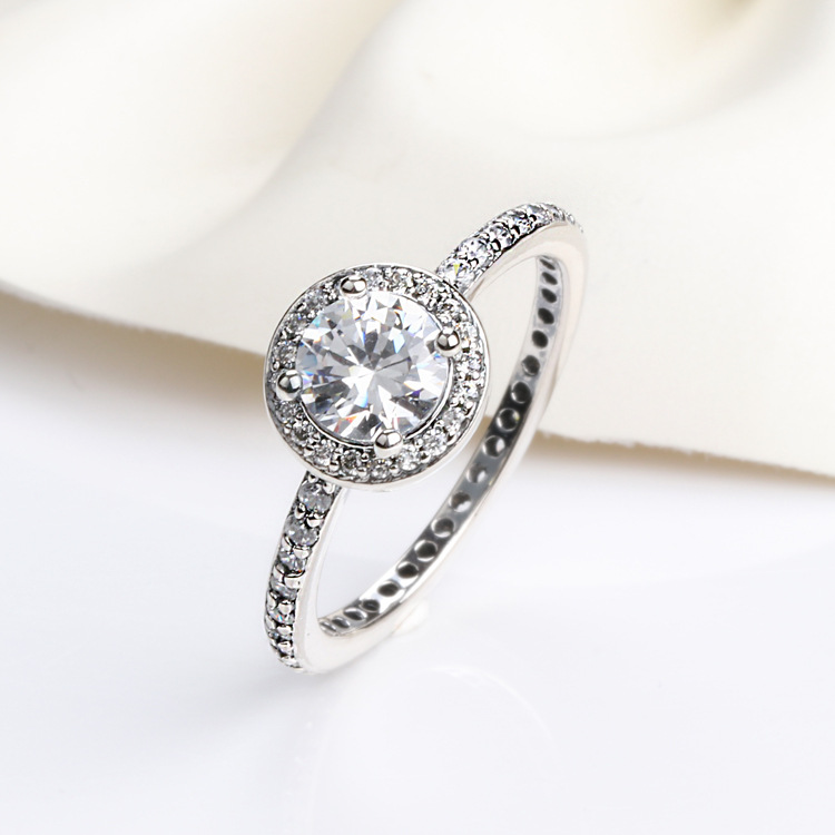 f56d6446d Authentic 925 Sterling Silver Pandora Ring Classic Elegance With Crystal  Rings For Women Wedding Party Gift Fine Jewelry-in Wedding Bands from  Jewelry ...