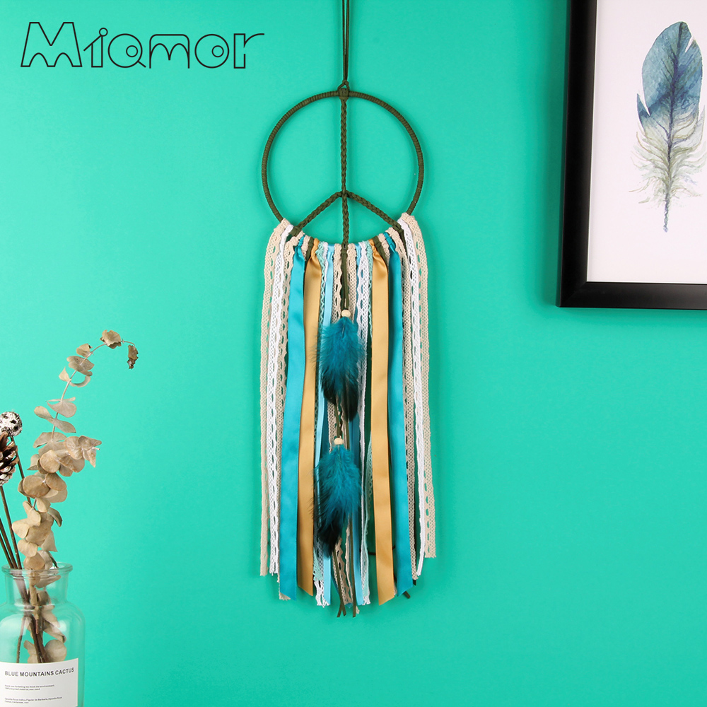 MIAMOR Símbolo de Paz Nórdico Dream Catcher Nursery School Kids Room Decoración de Boda y Hogar Decoración de Pared Accesorios Regalo AMOR015