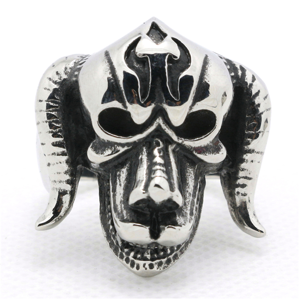New Arrival Mens Boys 316L Stainless Steel Cool Cow Head Punk Gothic Style Silver Cool Ring Hot Saling