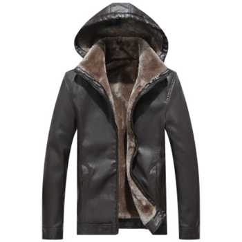 Men PU Leather Jackets Fashion Casual Hooded Faux Leather Coats Autumn Winter Warm Thick Short Outwear PU Coats FP1668