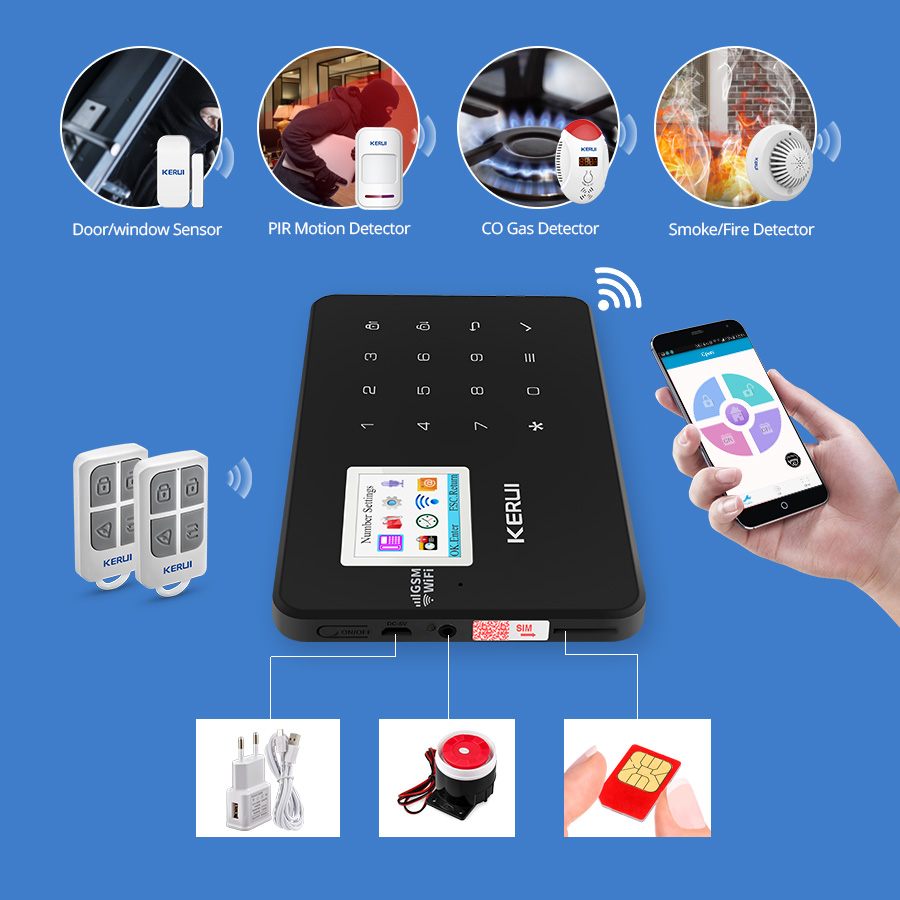 KERUI W18 Drahtlose WiFi GSM Alarm System Android IOS APP Control home Security Alarm mit PIR motion tür sensor IP kamera