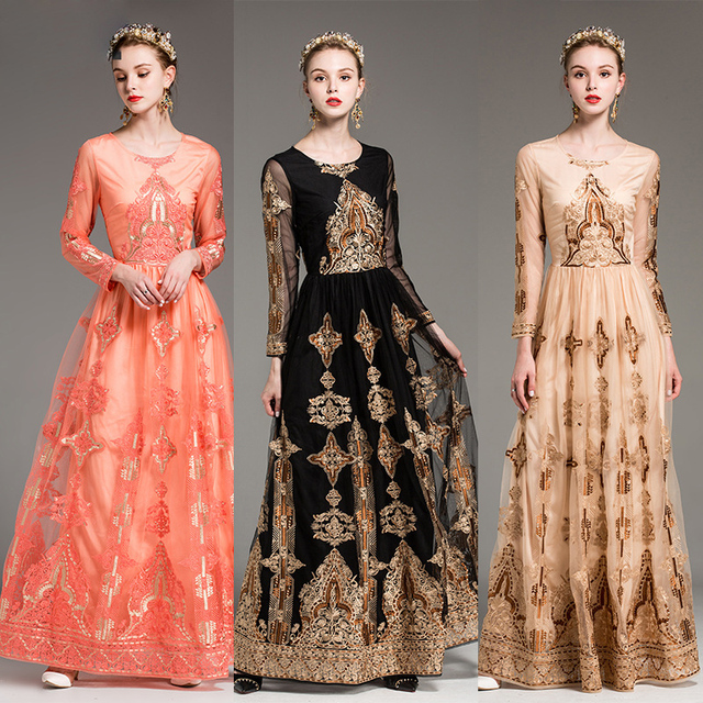 Embroidery deluxe Vintage party long dress