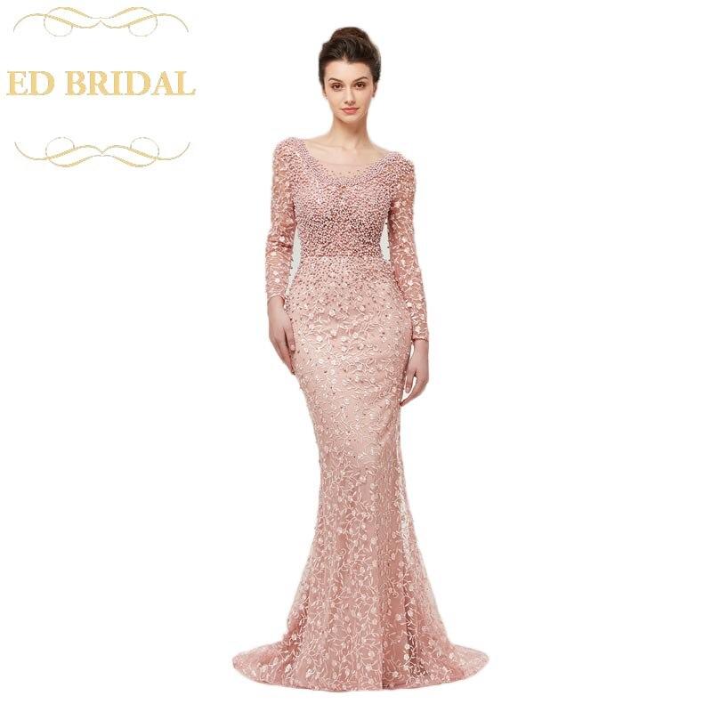 Long Sleeves Lace Pearls Beaded Pink Women Mermaid Evening Dress ...