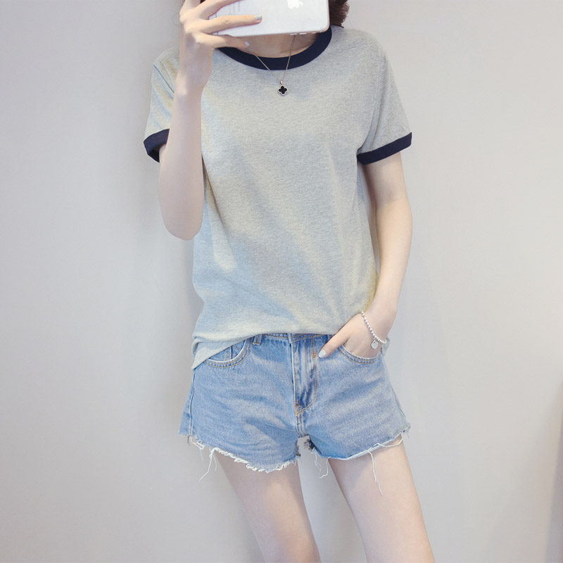 Loose Casual Women's T-shirt Short Sleeves O-neck solid color T shirts for Female Feature Splicing Color Collar Campus Style