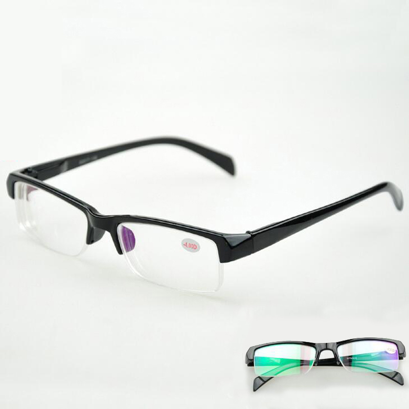 Men Women Myopia Glasses Short Sight Eyewear Half Frame Blue Coated Diopter Reading -1.00 -1.50 -2.00 -2.50 -3.00 -3.50 -4.00