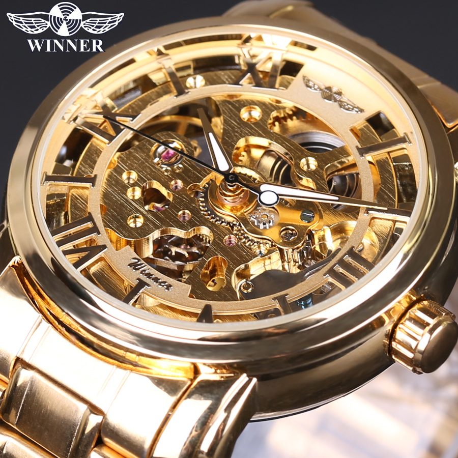 2018 Men's Watch Top Brand Luxury Winner Skeleton Watch Full Steel Strap Gold Automatic Mechanical Watches Dress Male Wristwatch famous brand winner watch woman leather strap automatic mechanical watches women skeleton mechanical wristwatch hodinky