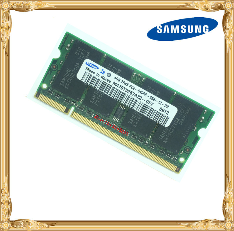 Samsung Laptop memory 4GB PC2-6400 DDR2 800MHz Notebook RAM 800 6400S 4G 200-pin SO-DIMM 4gb pc2 5300s ddr2 667 667mhz ddr2 laptop memory cl5 0 sodimm notebook ram non ecc 200pin 2rx16 low density