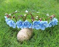 Sapphire Color Flower Hair Band Wedding Bridal Hair Accessories Artificial Garland Headbands Flowers Wreath Baby Girl