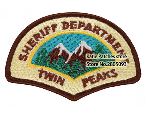 Twin Peaks Sheriff Department Logo Embroidered Iron on Patch TV Shows Uniform Fabric Badge Jacket Clothing