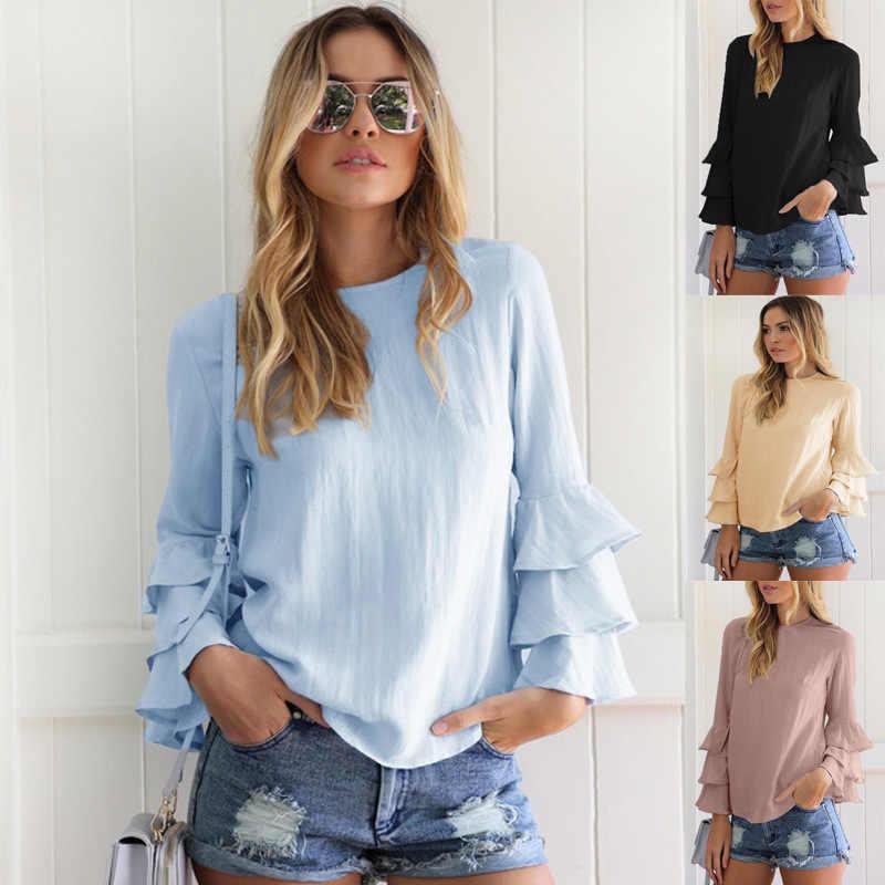 블라우스 여성 새로운 패션 2020 aliexpress 대형 접힌 민소매 쉬폰 셔츠 blusa feminina vestidos eff6179