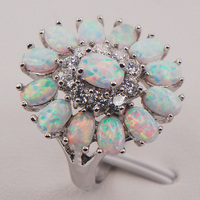 White Fire Opal Australia 925 Sterling Silver Woman Jewelry Ring Size 6 7 8 9 10