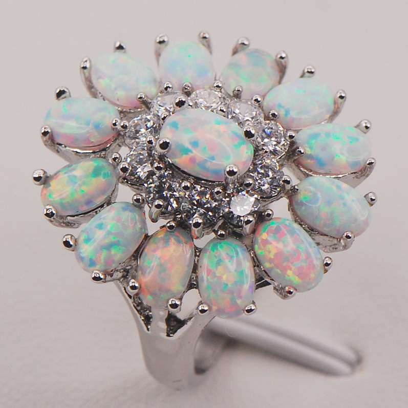 White Fire Opal Australia 925 Sterling Silver Woman Jewelry Ring Size 6 7 8 9 10 11 F577 white fire opal women 925 sterling silver ring a27 size 6 7 8 9 10