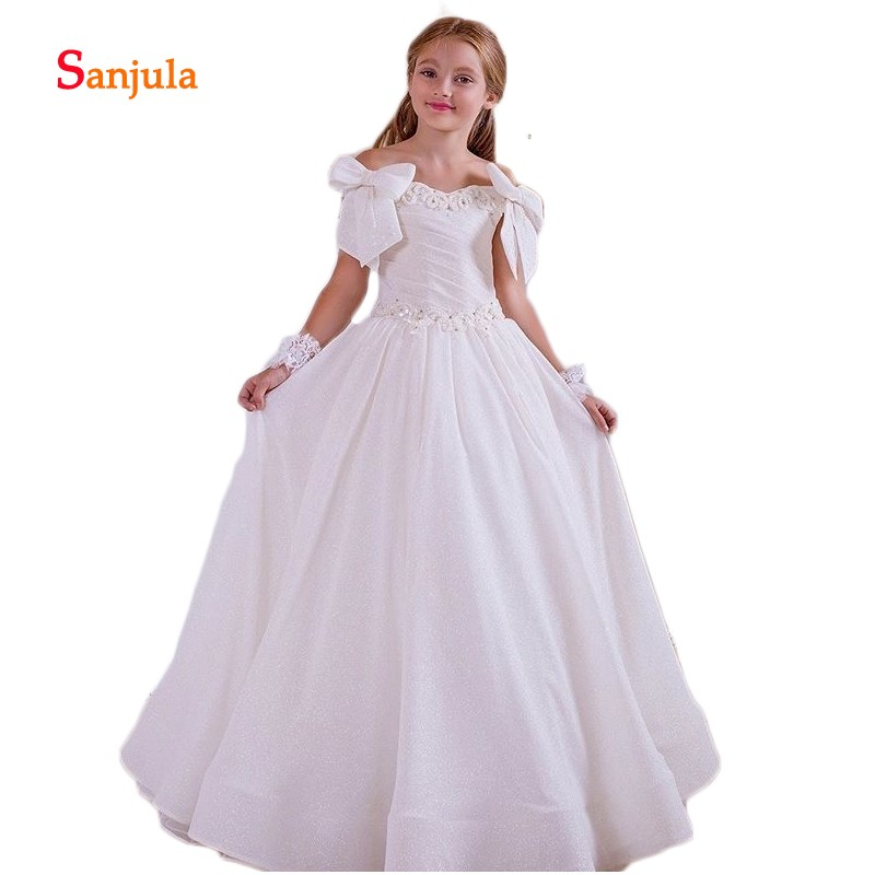 Boat Neck Off the Shoulder White   Flower     Girls     Dresses   Puffy A-Line Satin Communion   Dress   Pleats Beaded Bow Birthday Party D326
