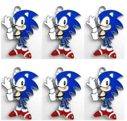 New Lot 10pcs Por Cartoon Sonic The Hedgehog Necklace Key Chain Earrings Metal Charm Pendants Jewelry Making In Charms From Accessories On