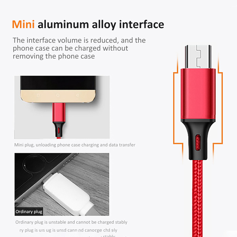 Oppselve Micro USB Cable 2 4A Nylon Fast Charge USB Data Cable For Samsung Xiaomi Tablet Android Mobile Phone USB Charging Cord in Mobile Phone Cables from Cellphones Telecommunications