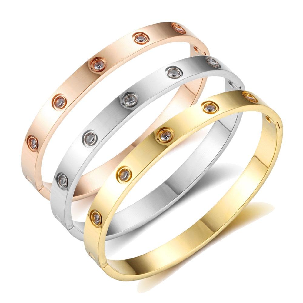 Schraube Armbänder Für Frauen Liebhaber Edelstahl Armbänder & Armreifen Kristall Gold Farbe Frauen Schmuck Geschenk (BA101759)