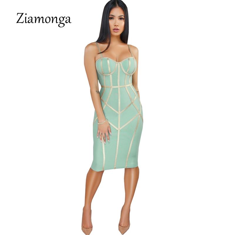 Ziamonga 2019 Women Bandage Dress Sexy Spaghetti Strap Sheath Sexy Club Fashion Evening Party Celebrity Ladies Summer Dresses