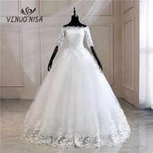 Свадебные платья с коротким рукавом, новинка, корейское винтажное кружевное платье с аппликацией, Вышитое блестками, свадебное платье, Vestido De Noiva MD