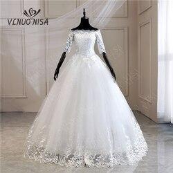 Half Mouw Trouwjurken 2020 Nieuwe Koreaanse Vintage Kant Applicaties Borduren Lovertjes Gown Bridal Vestido De Noiva Md