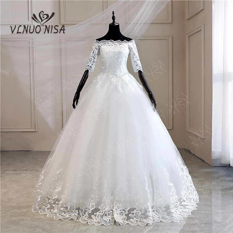 Half Sleeve Wedding Dresses 2020 New Korean Vintage Lace Appliques Embroidery Sequined Gown Bridal Vestido De Noiva MD