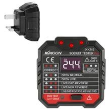 UK 30mA розетка тестовая er цифровой дисплей Розетка детектор Портативный цепи полярность напряжение тест er настенный выключатель Finder RCD тест
