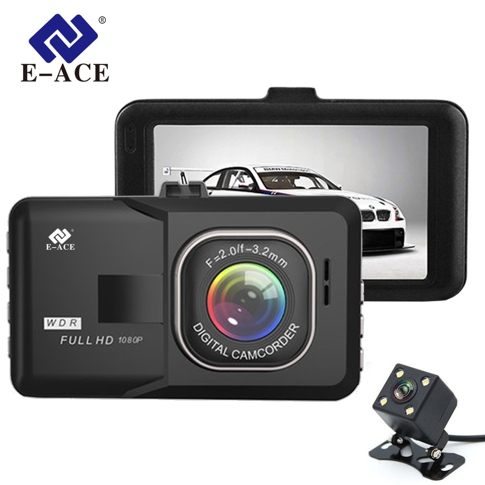 E ACE Car DVR 3 Full HD 1080P Dual Camera Lens 170D Angle Video Recorder Camcorder