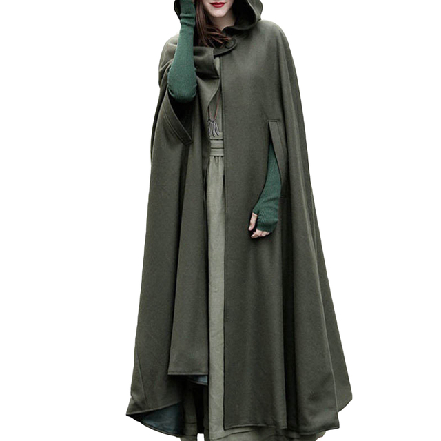Sólido Color Capa Con Mujer Invierno Capucha Abrigo Larga Poncho zxwBgnpq0Y