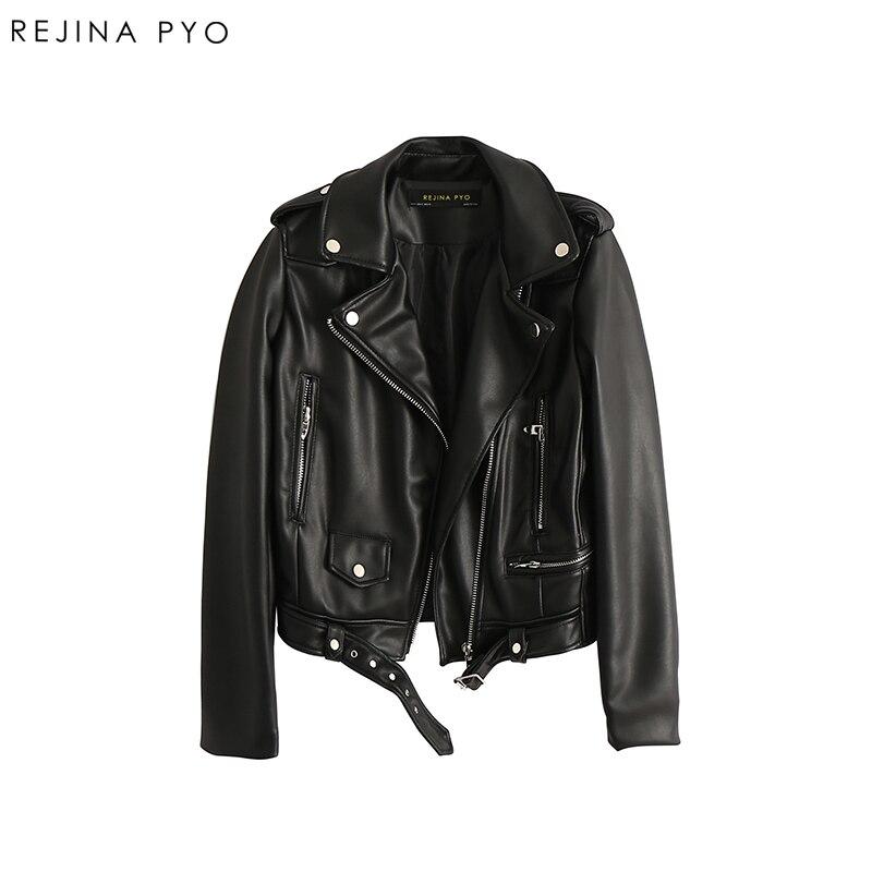 347d25621e7 REJINAPYO Women Moto Biker Style Solid Faux Leather Jacket Coat Streetwear  Female PU Fashion High Quality Short Jacket with Belt