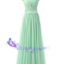 Длинное цвет Зеленая мята платья подружки невесты vestido longo дешевые новые милые плиссированные свадебное платье реальные фотографии
