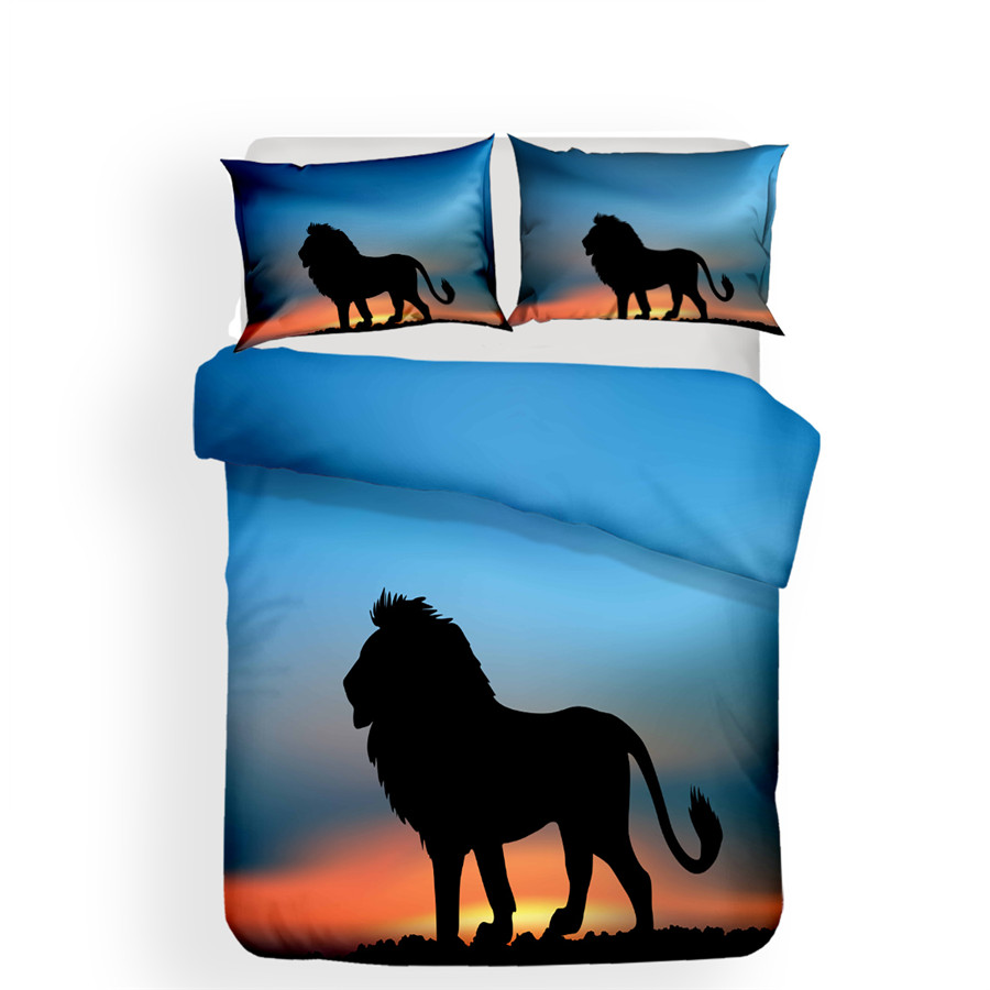 Image 2 - Bedding Set 3D Printed Duvet Cover Bed Set Lion Home Textiles for Adults Lifelike Bedclothes with Pillowcase #SZ03-in Bedding Sets from Home & Garden