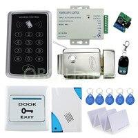 フルコンプリート125 Khz rfidカードドアのアクセス制御セキュリティシステムキット+電気錠+電源+ドアベル+リモート+キーパッ
