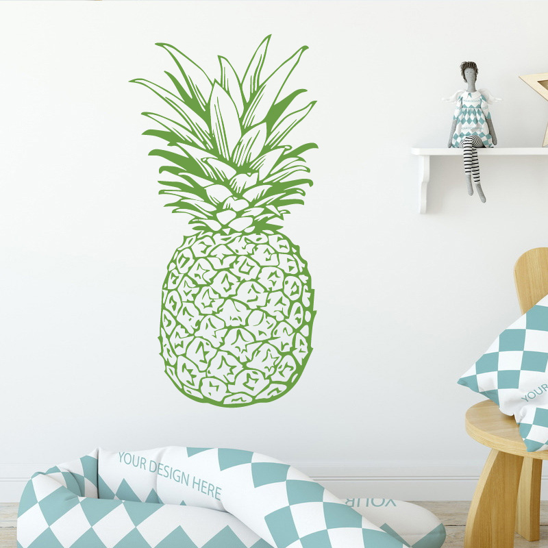 Pineapple Pattern Fruit Design Wall Stickers for Kids Room Background Vinyl Removable Wall Decals Waterproof Art Decor Wallpaper