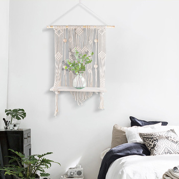 Macrame Wall Hanging With Wood Borad Rack Woven Wall Hanging, Wall Tapestries, Boho Wall Hanging  Macrame Hanging Shelf Nordic