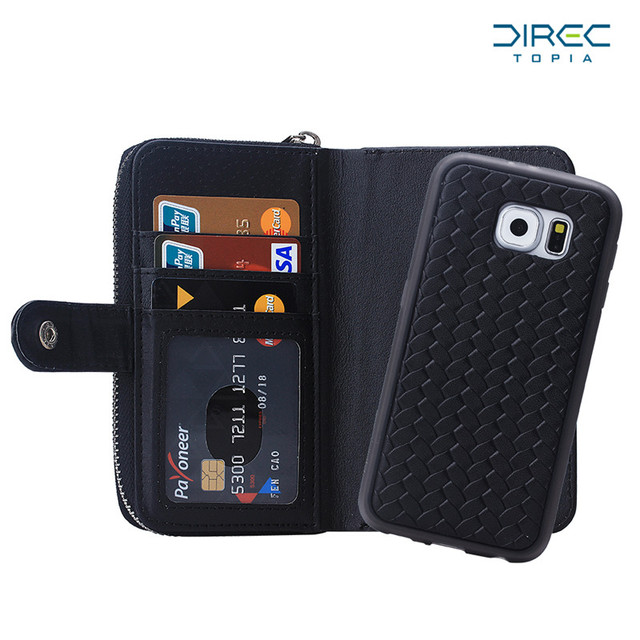 detailed look 1dacf 33b28 US $11.99 |2 In 1 Purse Case for Samsung Galaxy S6 Wallet Case Flip Leather  Card Slots Zipper Hand Bag Distressed Leather Wallet Phone Case-in Wallet  ...