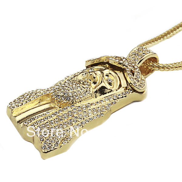 New Iced Out JESUS Face Pendants with 32″ Franco Rope Chain HipHop Style Necklace Gold Plating Free Shipping