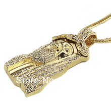 New Iced Out JESUS Face Pendants with 32 Franco Rope Chain HipHop Style Necklace