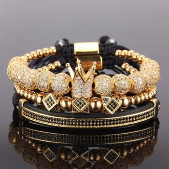 769df32d30e1 3 unids set pulsera de los hombres joyas de la Corona encantos Macrame  pulseras de perlas para mujeres pulseira masculina pulseira femenina