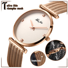 Women Watches Luxury 2018 Ultra Thin Rose Gold Watch Triomphe Mesh Brand Minimalist Lady Watch For Women Golden Clock Hour Gifts(China)