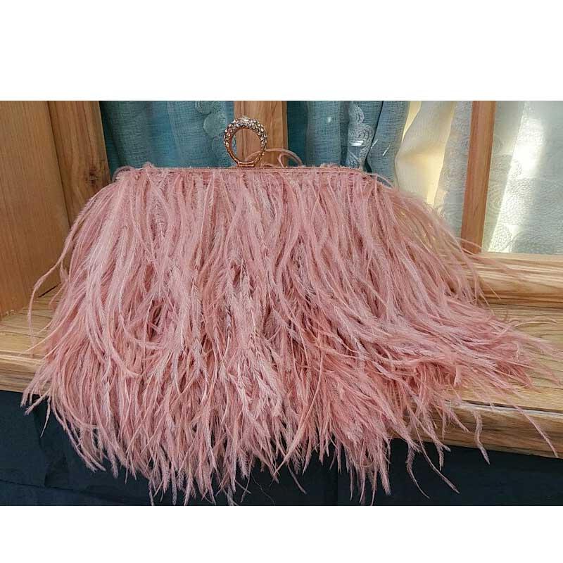2017 Bagsdiamond Soirée Femmes green La Sac Sacs Gland White Autruche Main Mariage Doux Fourrure pink Véritable De Épaule À Anneau black SnFrSqgwx