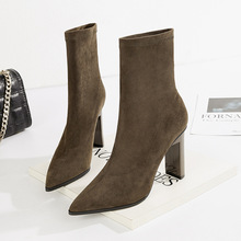 Sexy Pointed Toe Block Heels Ankle Boots for Women 2018 Faux Suede High Heel Boots Stretch Warm Shoes Ladies Black Red