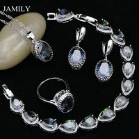 JAMILY Several Shapes 925 Silver Jewelry Sets Rainbow CZ Beads Decoration For Women Earrings/Pendant/Ring/Bracelet/Necklace